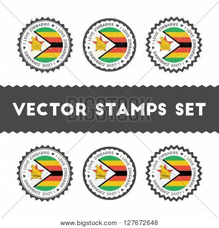 I Love Zimbabwe Vector Stamps Set. Retro Patriotic Country Flag Badges. National Flags Vintage Round