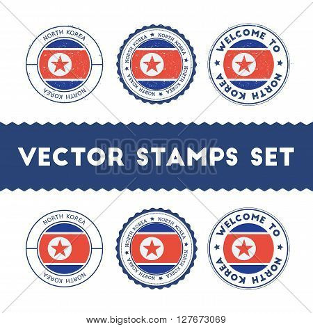 North Korean Flag Rubber Stamps Set. National Flags Grunge Stamps. Country Round Badges Collection.