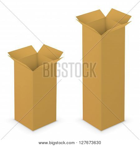 Realistic tall brown vector opened blank boxes. Vector illustration