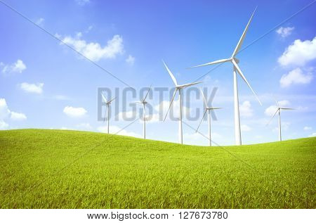 Wind Turbine Green Field Nature Concept