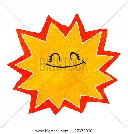 happy freehand drawn retro cartoon sun