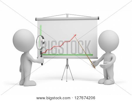 3d man looking at the chart through a magnifier. 3d image. White background.