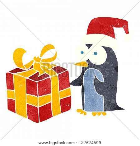 freehand drawn retro cartoon christmas penguin with present