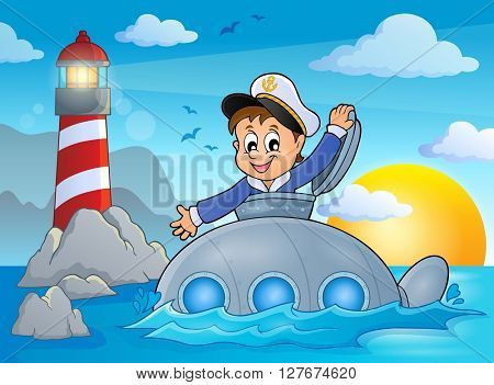 Submarine with sailor theme image 2 - eps10 vector illustration.