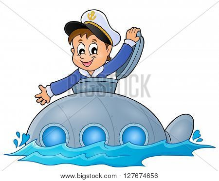 Submarine with sailor theme image 1 - eps10 vector illustration.