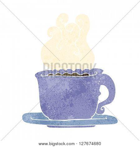 freehand drawn retro cartoon cup of coffee