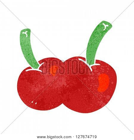 freehand drawn retro cartoon cherries