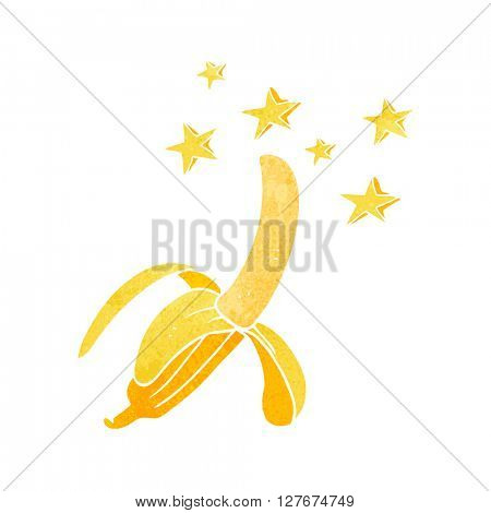 freehand drawn retro cartoon amazing banana