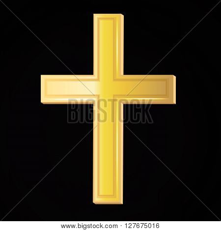 Vector yellow cross for religion. Gold religion symbol for christians or catholics on black background