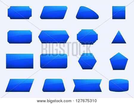 Vector set shapes for message in blue color. Decoration for text in geometry shapes. Border and sticker for note in set. Hexagon button rectangle square and other blue geometry signs