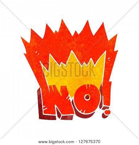 freehand drawn retro cartoon NO! shout