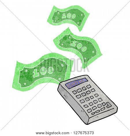 freehand drawn retro cartoon calculator counting money