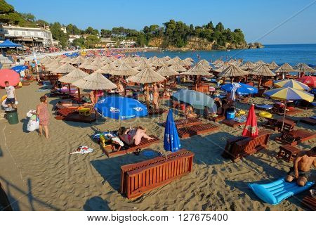 ULCINJ, MONTENEGRO - JULY 10, 2015: crowded