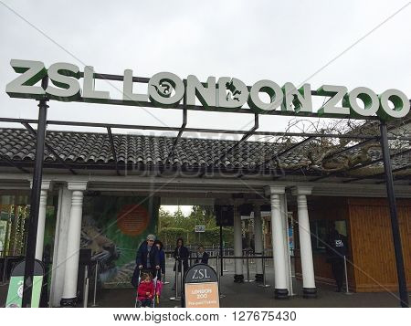 LONDON - APRIL 25: Main entrance to London Zoo on April 25, 2016 in London, UK.