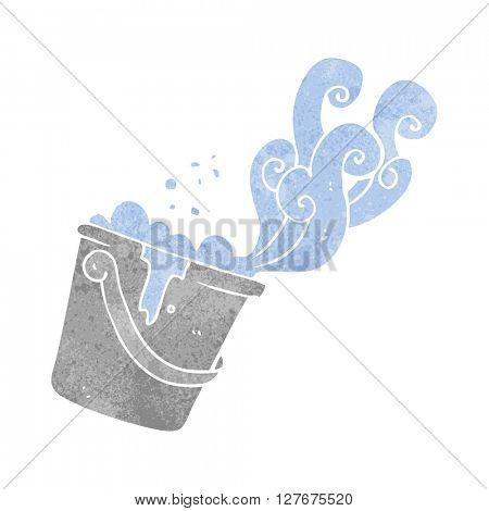 freehand drawn retro cartoon cleaning bucket