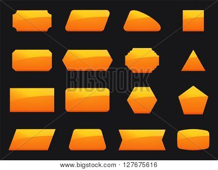Vector set shapes for message in orange color. Decoration for text in geometry shapes. Border and sticker for note in set. Hexagon button rectangle square and other yellow geometry signs