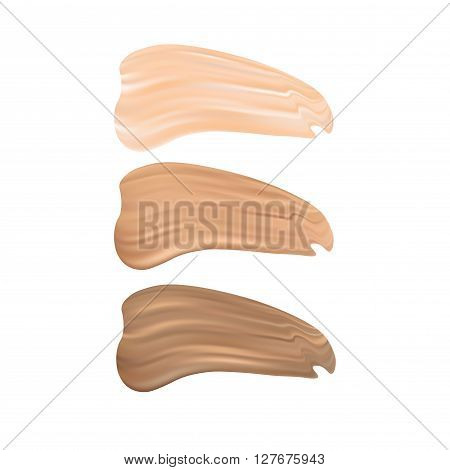 Vector Illustration of Color Shades Palette For Foundation Make Up. Isolated On White Background.