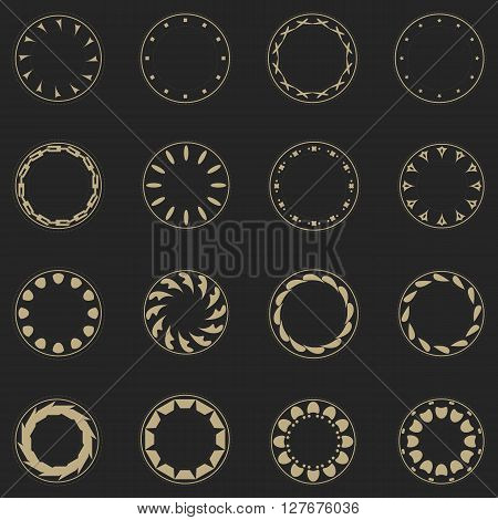 Set fractal and swirl shape element. Vintage monochrome round objects. Vector decorative sample. Diaphragm border outline yellow color on grey background. Round light shapes with text