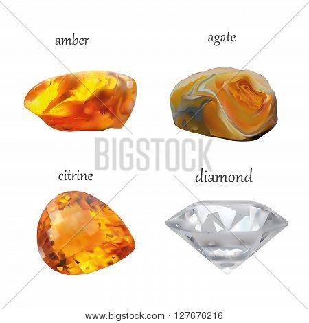 Vector Realistic Gems Jewelry Stones Collection. Isolated On White Background