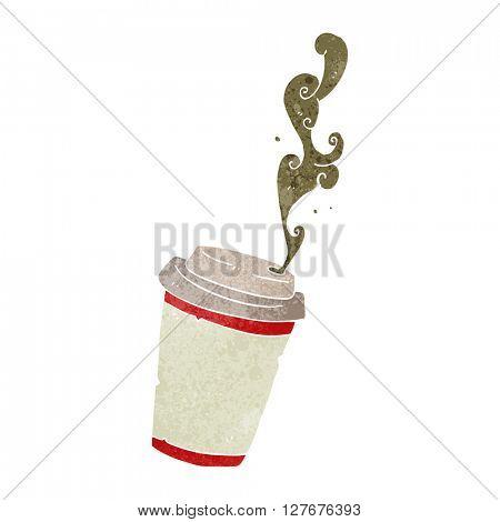 freehand drawn retro cartoon take out coffee