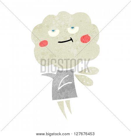 freehand drawn retro cartoon cute cloud head imp