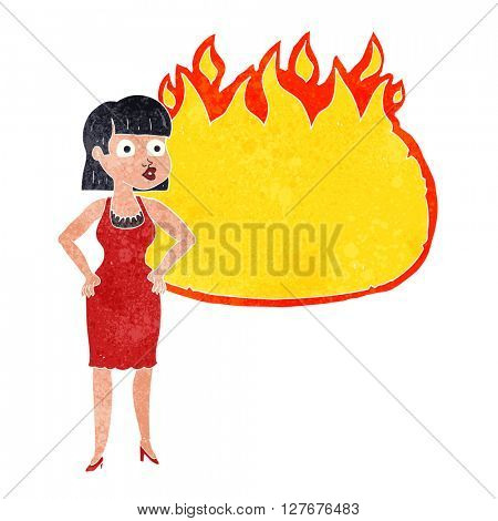 freehand drawn retro cartoon woman in dress with hands on hips and flame banner