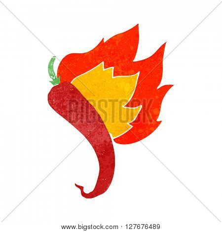 freehand drawn retro cartoon flaming hot chilli pepper
