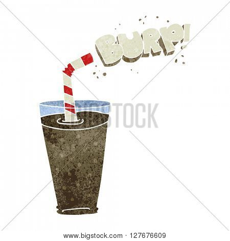 freehand drawn retro cartoon fizzy drink in glass