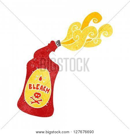 freehand drawn retro cartoon bleach bottle squirting