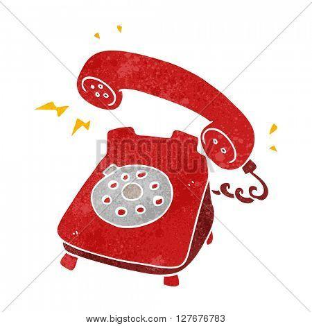 freehand drawn retro cartoon ringing telephone