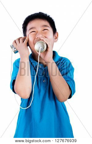 Asian Chinese Boy Playing With Tin Can Phone