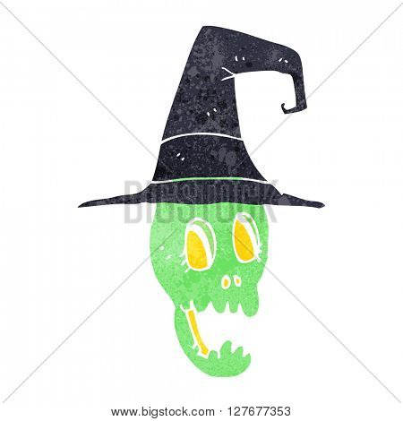 freehand drawn retro cartoon skull wearing witch hat