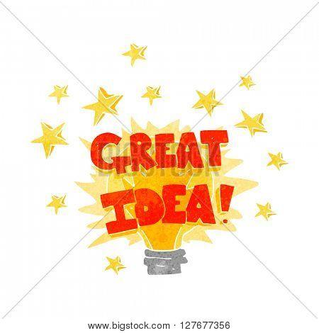 freehand drawn retro cartoon great idea light bulb symbol