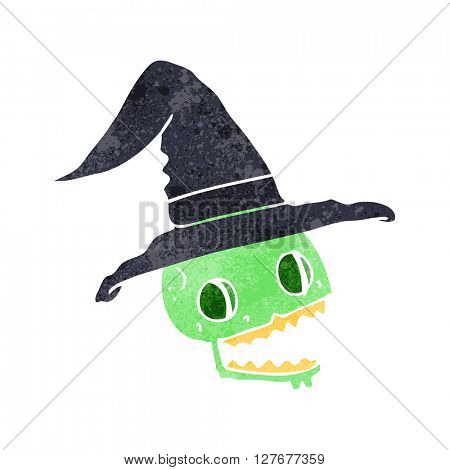 freehand drawn retro cartoon skulll wearing witch hat