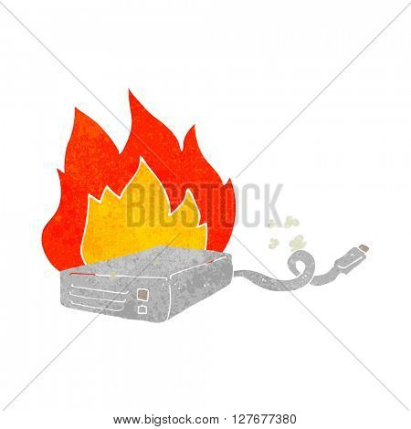 freehand drawn retro cartoon computer hard drive burning