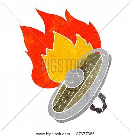 freehand drawn retro cartoon shield burning