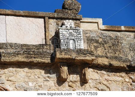 Castle sculpture at the top of the Giants arch (Arco de los Gigantes) Antequera Malaga Province Andalucia Spain Western Europe.