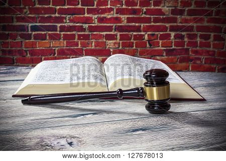 judges gavel and  book
