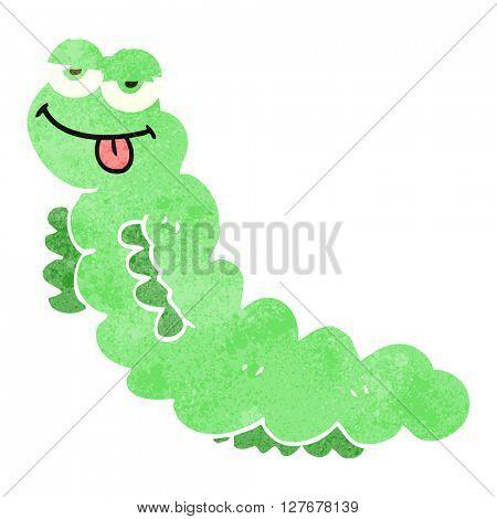 freehand drawn retro cartoon caterpillar