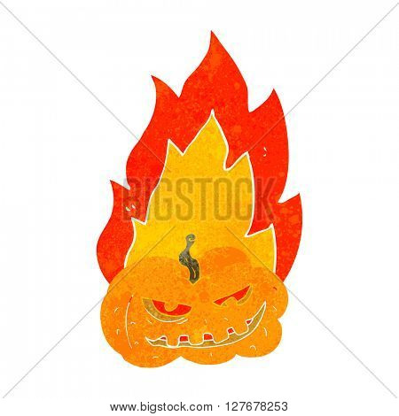freehand drawn retro cartoon flaming halloween pumpkin