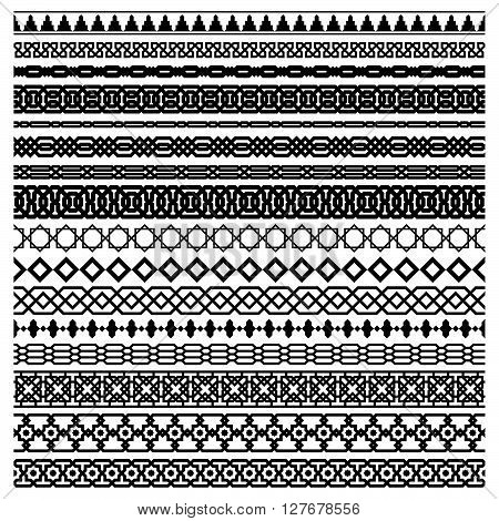 Islamic Seamles Vector Line Border Set