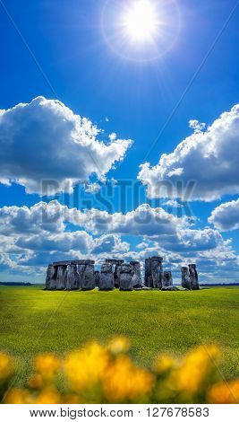 Famous Stonehenge with dramatic sky in England
