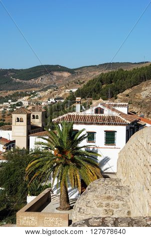 View looking East over rooftops from outside the giants arch Antequera Malaga Province Andalucia Spain Western Europe.