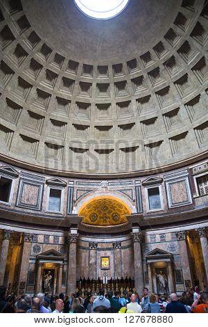 ROME, ITALY - APRIL 8, 2016: Pantheon interior, dome
