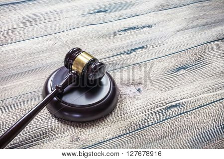 judge gavel on wooden table