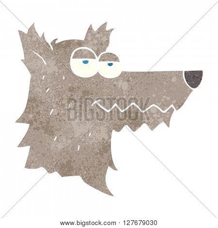 freehand retro cartoon wolf head
