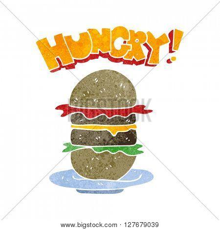freehand drawn retro cartoon burger