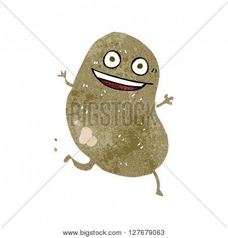 freehand drawn retro cartoon potato running