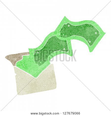 freehand drawn retro cartoon envelope full of money