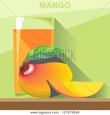 A glass of yellow mango juice a whole big ripe mango with green leaves and a half mango on a table digital vector image.